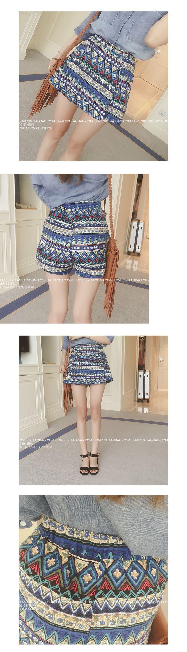Étnica impresión abstracta minifalda ocasional asimétrica Corea Hitz 2015 mujeres ocasionales de los pantalones cortos - Estación mundial Taobao