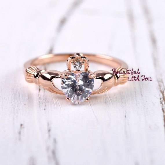 Claddagh Ring Rose Gold, Claddagh Ring Womens, Sterling Silver Rose Gold Plated Claddagh Ring, Celtic Irish  Clddagh Promise Ring