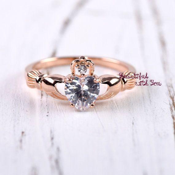 Claddagh Ring Rose Gold, Claddagh Ring Womens, Sterling Silver Rose Gold Plated Claddagh Ring, Celtic Irish  Clddagh Promise Ring