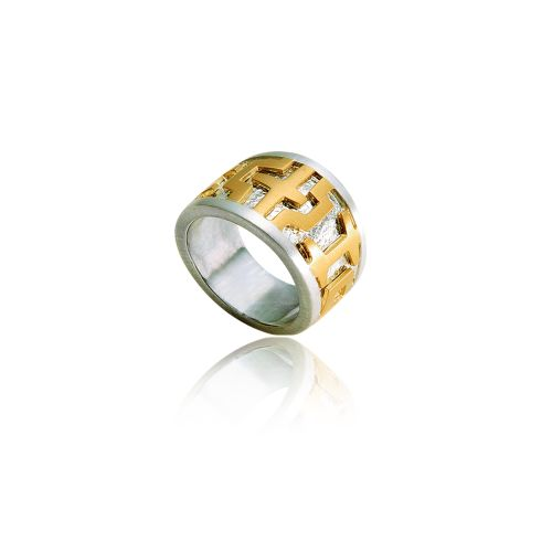 Entasis ring in 18ΚΤ yellow gold and silver