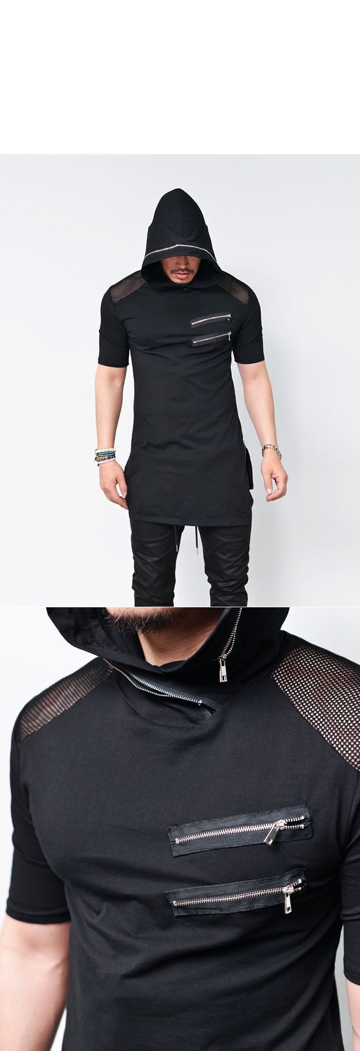 Tops :: Tees :: Mesh Shoulder Side Zip Long Hoodie-Tee 525 - Mens Fashion Clothing For An Attractive Guy Look shop now: http://www.ebay.com/usr/digital.avenue