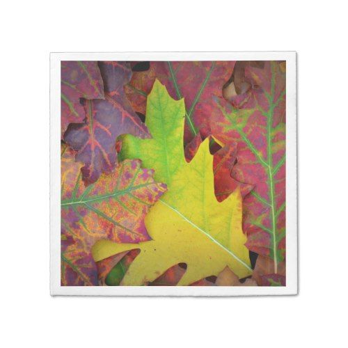 Fall Leaves in yellow, red, orange and Purple Paper Napkin