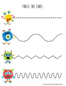 Fine Motor Monster Tracing Lines Worksheet | FREE preschool Halloween download from TPT!