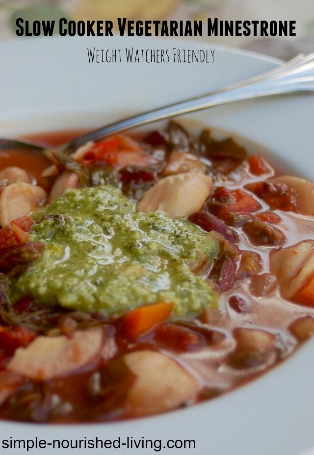 Healthy Slow Cooker Vegetarian Minestrone Recipe