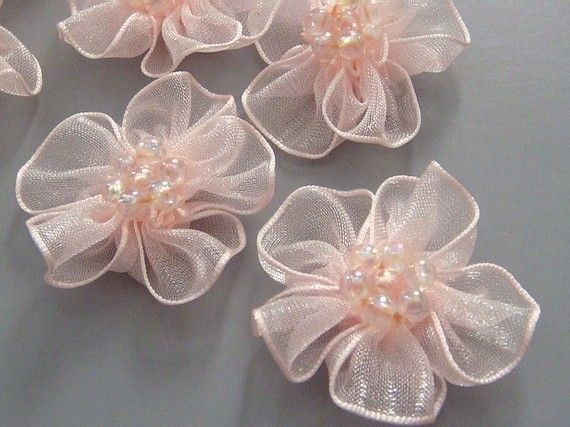 10 Peach Organza Flower Appliques Glittering Bead by twpmango