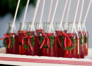 drink bottles with little wreaths - cute!