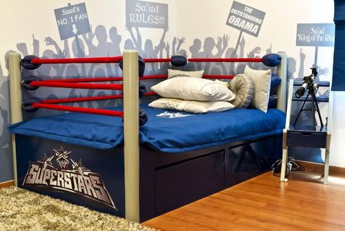 Wrestling Ring Bed. can't let the boys see this.lol