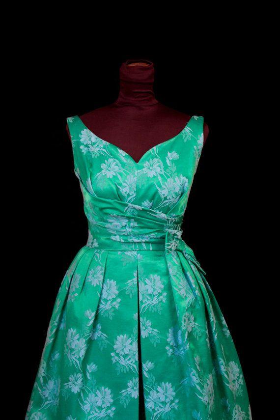 1960 S Dress Emerald Green With Brocade Blue Flowers
