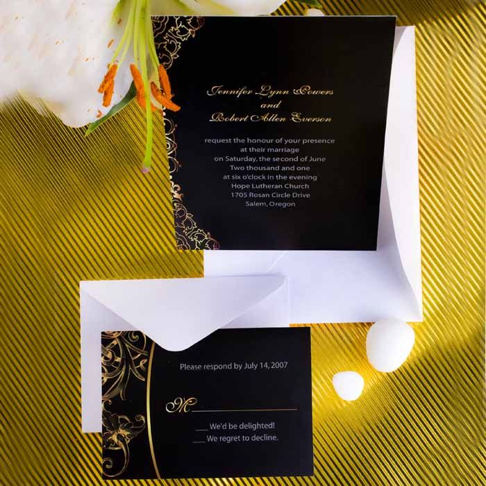 vintage black and gold damask inexpensive wedding