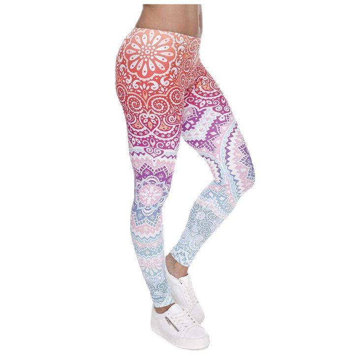 Fashion Aztec Round Ombre Women Printed Fitness Leggings Soft Slim Ladies Workout Pants Elastic Sportes Athleisure Leggings #Affiliate