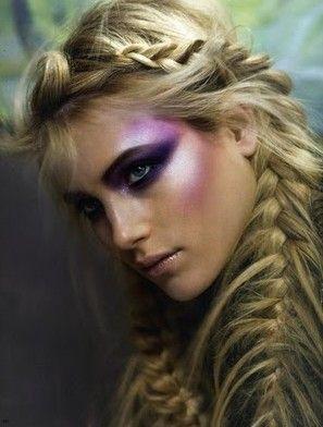 Amazing purple make up with blonde braids