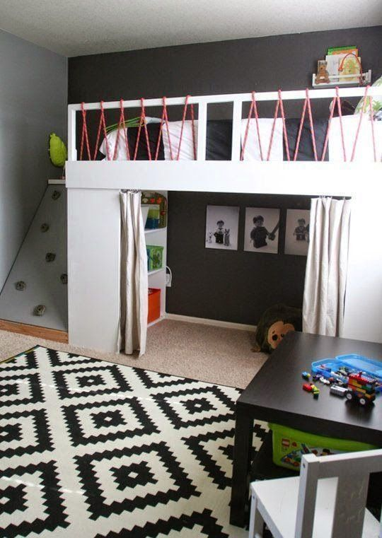 climbing holds on ladder up to loft bed. old climbing rope used as bed railing. LOVE!