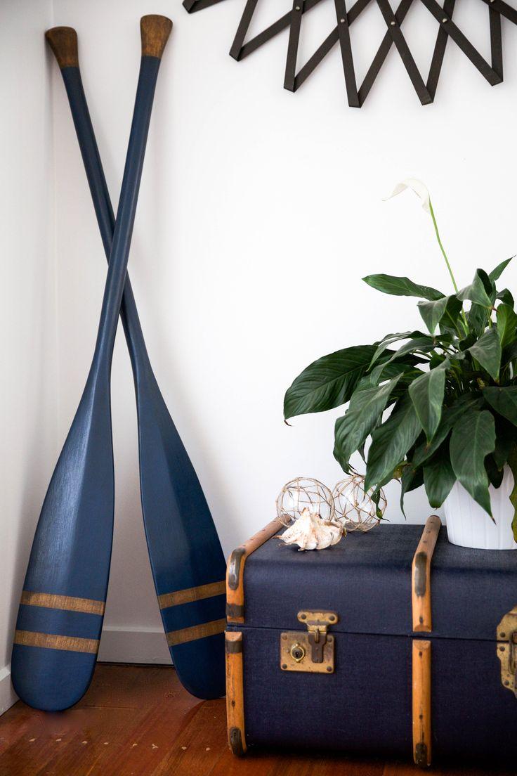 Hand painted vintage oars - Annie Sloan Chalk paint - Napoleonic Blue.  Vintage suitcase.
