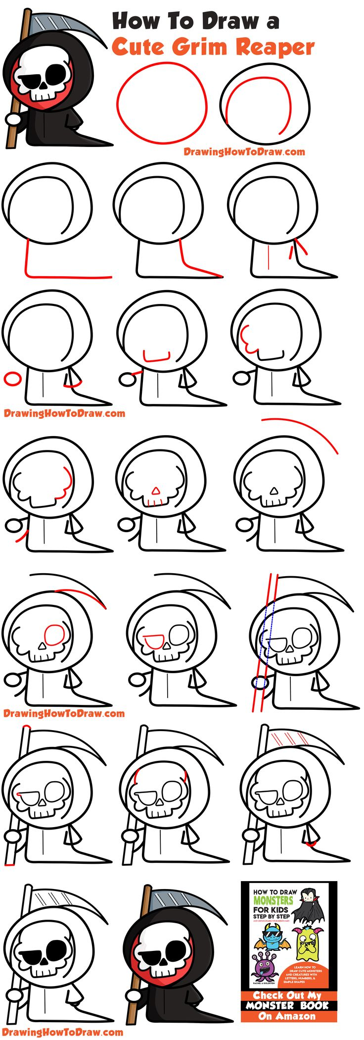 How to Draw a Cute Cartoon Grim Reaper (Kawaii / Chibi) Easy Step by Step Drawing Tutorial for Kids