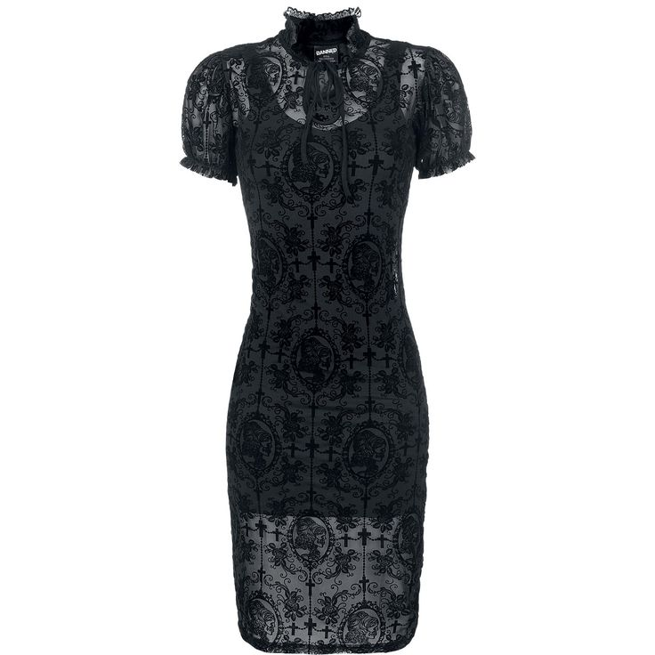 Black Lace Dress - Langes Kleid von Banned