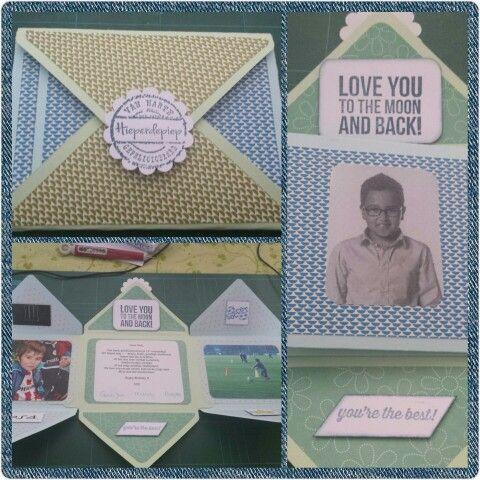 Mini (envelop) album voor 15 jarige broer Nick, met behulp van envelop punch board van Stampin up [ Made by Mandy ]