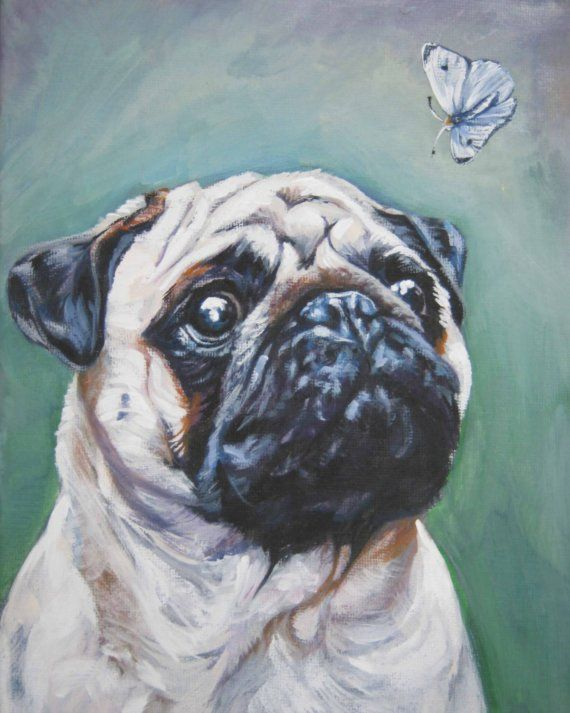 fawn pug art print CANVAS print of LA Shepard painting 8x10 on Etsy, $19.99