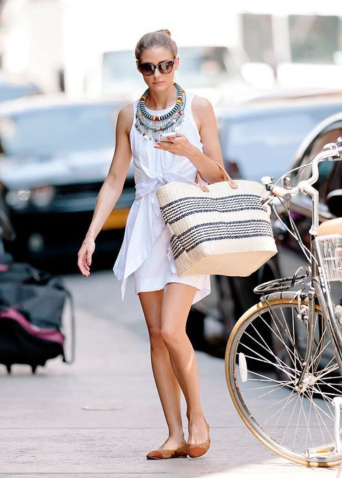 Olivia Palermo white dress, straw tote and colorful jewelry
