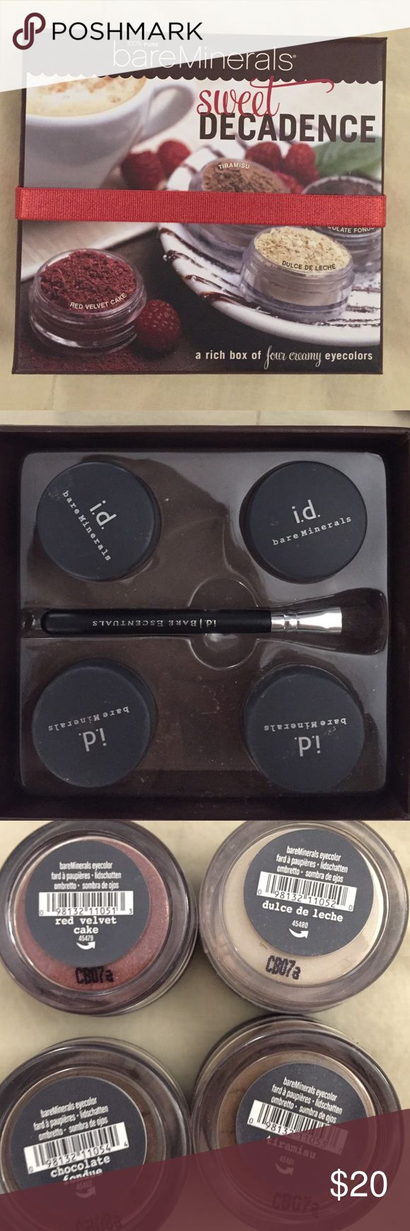 4 delicious bare mineral eye shadows Sweet decadence bare minerals eye shadows, red velvet, tiramisu, chocolate fondue, and dulce de leche eye shadows. Only opened to sample the colors! And the brush is included bareMinerals Makeup Eyeshadow