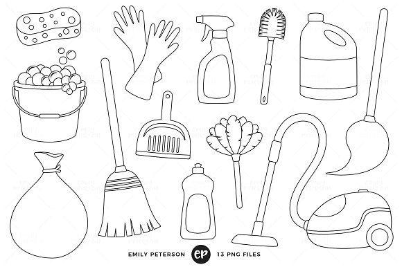 Spring Cleaning Digital Stamps Clip Art Line Art Images