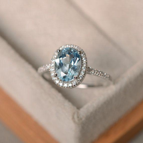 Mars anneau de birthstone aquamarine, argent sterling, halo bague pierres précieuses, bague de fiançailles