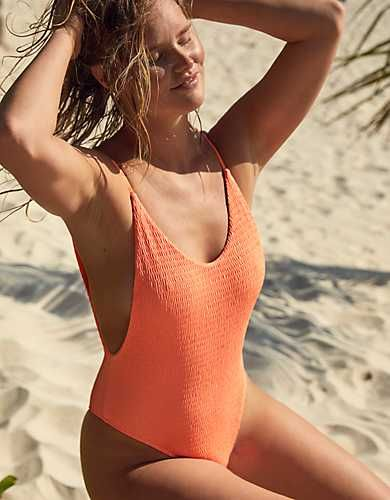 Aerie Smocked Super Scoop One Piece Swimsuit