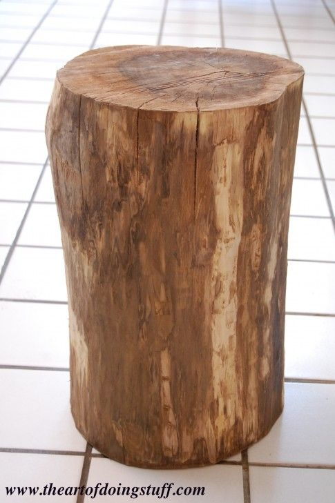 how to make a wood stump end table