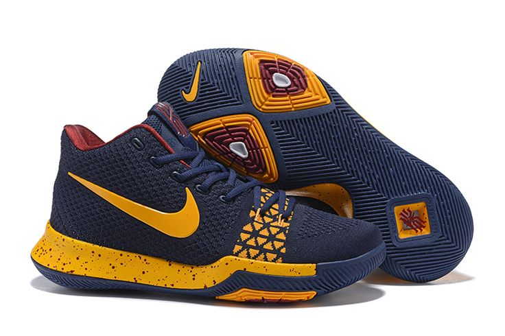 Cheap Nike Flyknit Kyrie 3 Shoes Navy Yellow Maroon on  www.flyknitmax2017.com