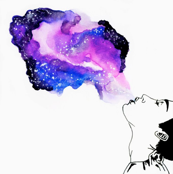 Galaxy Girl- Galaxy smoke cigarette weed paint watercolor stoner cute gift by Lindigoh on Etsy