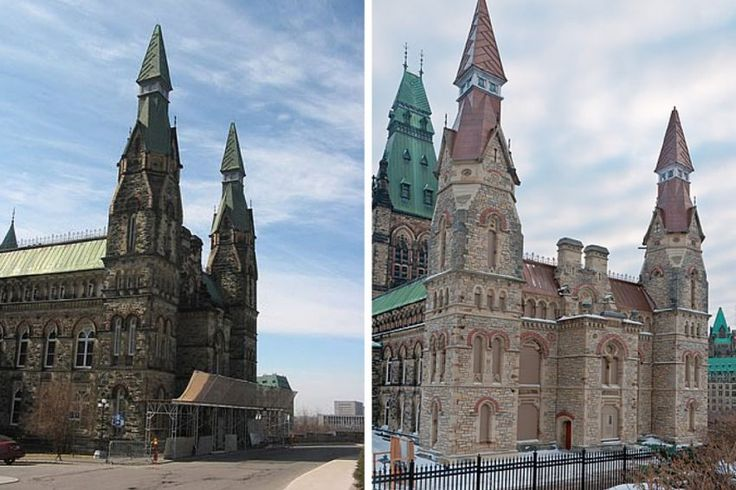 West Block exterior is seen pre-renovation at left, with a depiction of how it will look after construction at right.