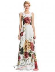 Dlouhé bílé šaty s květinami
