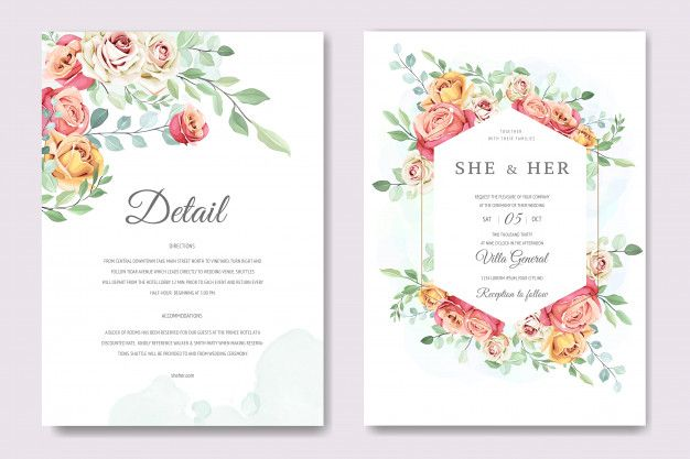 Beautiful Invitation Card With Floral Wreath Template Premium