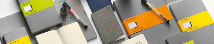 Moleskine Gray Cahiers & Fluorescent Pens