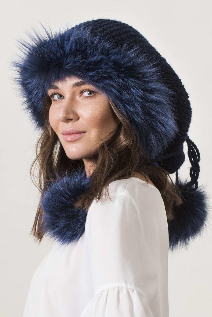 Πλεκτά με γούνα : Navy neck warmer and hat