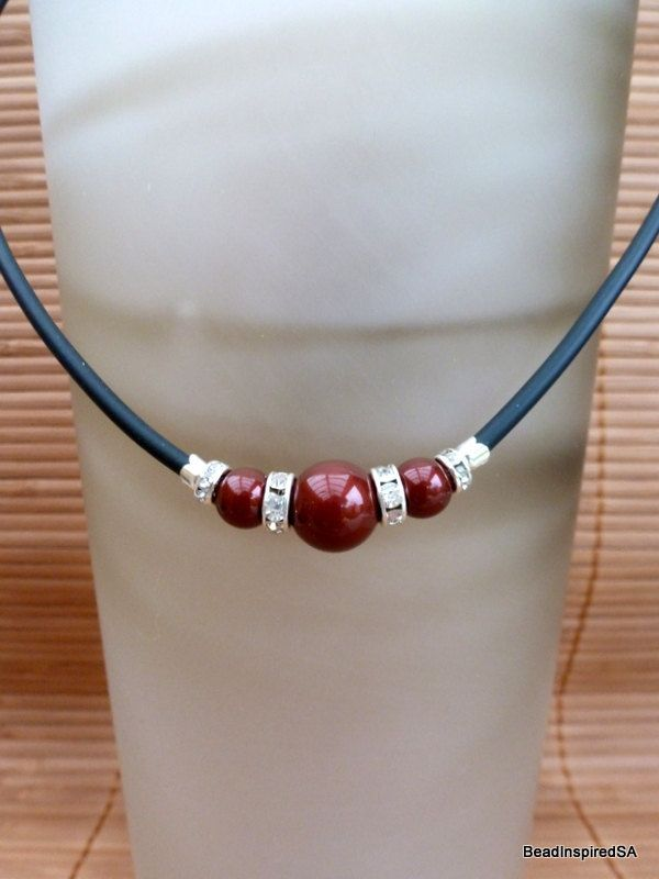 Rondelle and Swarovski Pearl Necklace Maroon by BeadInspiredSA