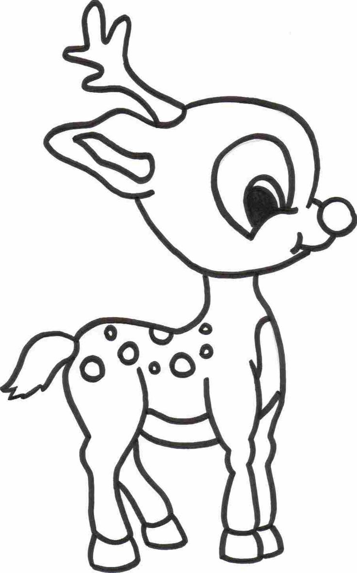 Free printable coloring pages with words - Baby Reindeer Coloring Sheet