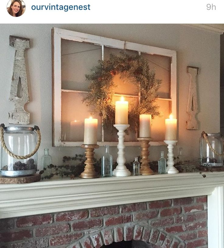 Best ideas about farmhouse style fireplace mantel modern for Farmhouse fireplace decor