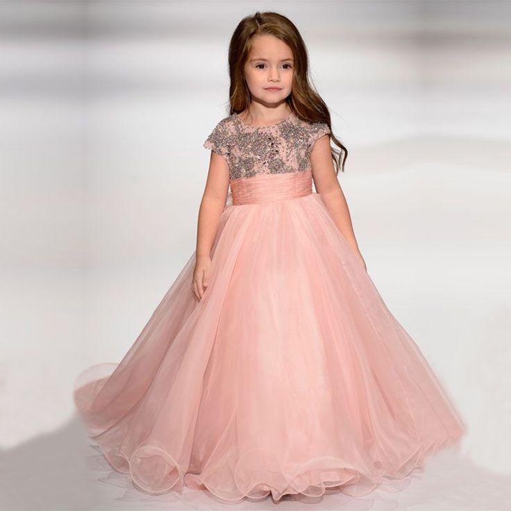 43848e1b0e2 Pas cher Blush Rose Pageant Robes Pour Les Filles Glitz 2017 Perlé Fait  Main Enfants Longue ...