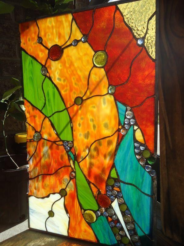 Abstracto Vitral eje de popa Ventana contemporáneo Nuggets suncatcher Panel