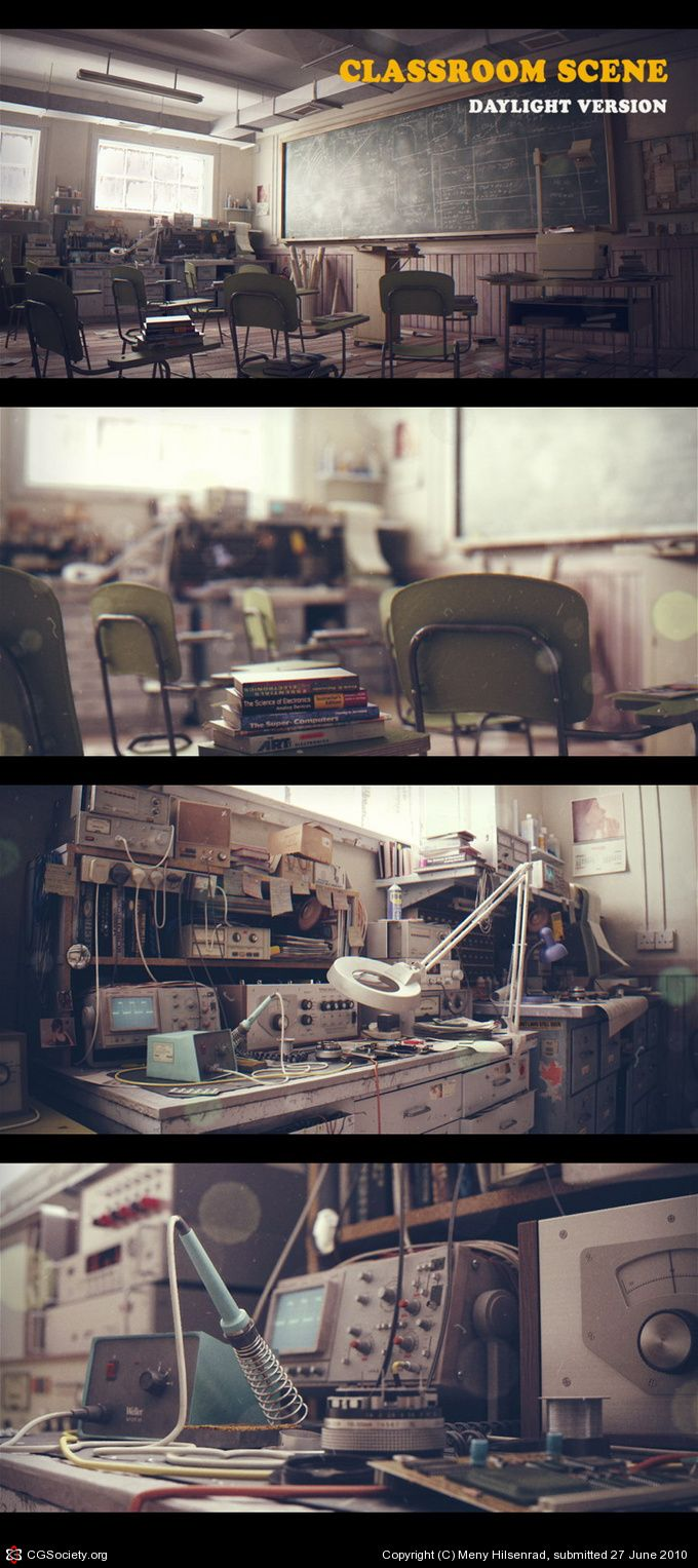 I can't really describe how incredible this is. Follow the links below. This is all computer generated; painstaking work. Title: Classroom Scene Name: Meny Hilsenrad Country: Israel Software: 3ds max, After Effects, Photoshop, VRay