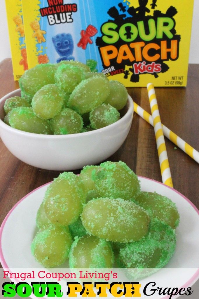 Sour Patch Grapes Recipe Made with Lime JELL-O Mix! Get the recipe here --> http://www.frugalcouponliving.com/2014/05/31/jell-o-sour-patch-grapes-recipe/