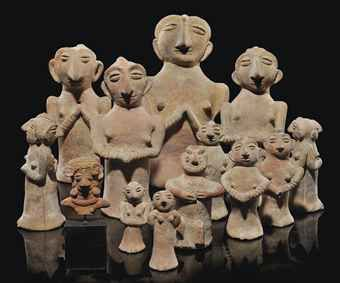 A group of Indus Valley terracotta figures from Harappa, North Pakistan, 3rd millenium BCE