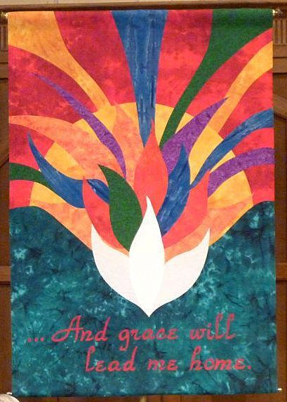 Created by the WPC Banner team in 2012.    Debuted, at an ordination, and created as a funerary banner.    Batik fabrics were used to give texture to the banner, and in person, the dove has an iridescence.