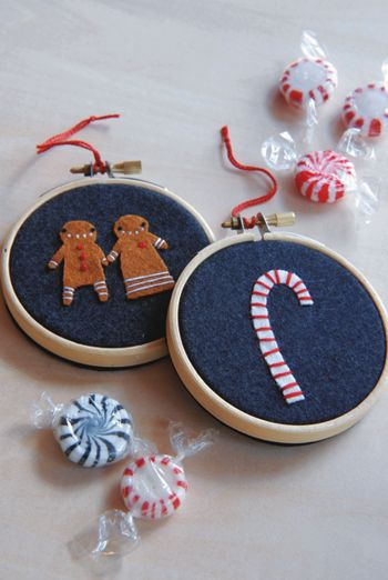 Christmas in July ~ Sweet Trio Project from Designer Cathy Gaubert « Sew,Mama,Sew! Blog: Hoop Ornaments, Felt Crafts, Trio Ornaments, Felt Ornaments, Sweet Trio, Embroidery Hoop, Trio Projects, Christmas Ornaments, Ornaments Ideas