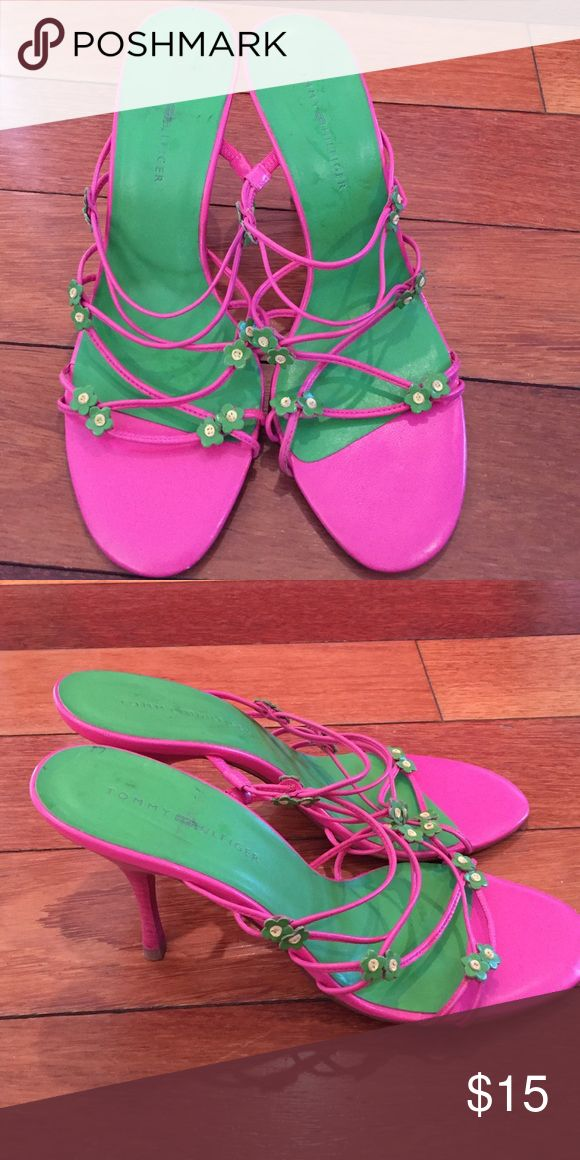 Tommy Hilfiger strappy heels size 8 These gorgeous pink and green strappy heels are perfect for a night out. Never worn outside. Size 8 Tommy Hilfiger Shoes Heels