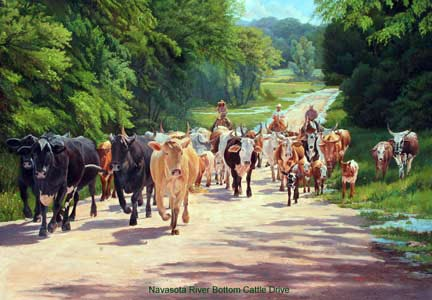 Navasota River Bottom Cattle Drive  June Dudley Fine Art Paintings and Prints