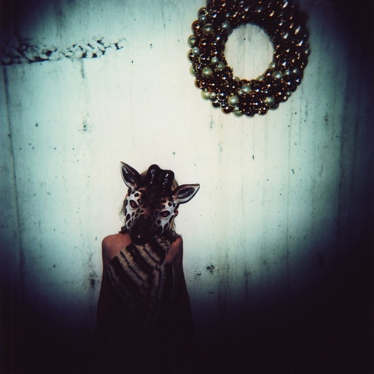 camelopardalis (giraffe), 8x10 archival print photograph of girl in animal mask and vintage 1970s dress. $30.00, via Etsy.