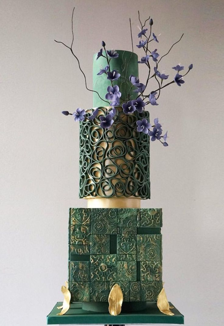 Beautiful teal blue blossom cake