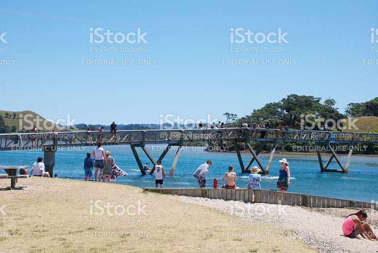 Holidaymakers at Pataua Bridge, Whangarei District, Northland, NZ royalty-free stock photo