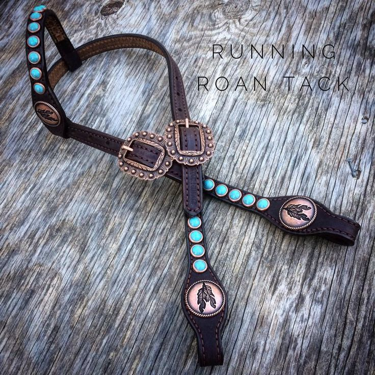 """""""1880"""" Chocolate SHORT GAG Headstall with Large Veined Turquoise Stones and Feather Conchos by Running Roan Tack"""